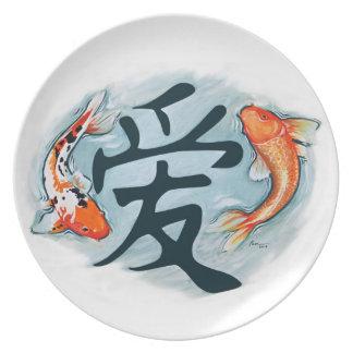 Koi Surrounding Love Dinner Plate