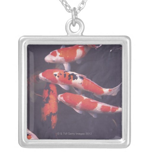 Koi swimming in pool square pendant necklace