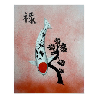 Koi Tancho Chinese Jade prosperity painting Poster
