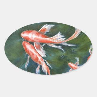Koi Tranquility Oval Sticker
