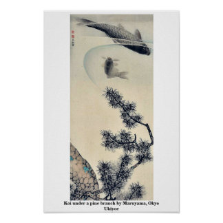 Koi under a pine branch by Maruyama, Okyo Ukiyoe Posters