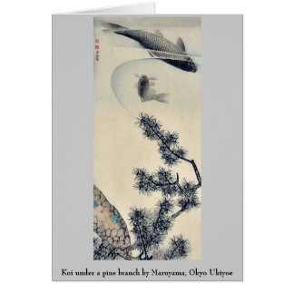 Koi under a pine branch by Maruyama, Okyo Ukiyoe Stationery Note Card