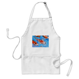 Koi watercolor nature painting art printed on adult apron