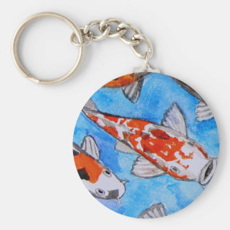 Koi watercolor nature painting art printed on basic round button keychain