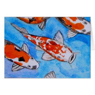 Koi watercolor nature painting art printed on card