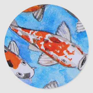Koi watercolor nature painting art printed on round sticker