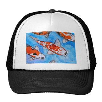 Koi watercolor nature painting art printed on trucker hat