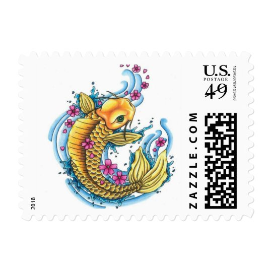 Koi with Cherry Blossoms Stamp