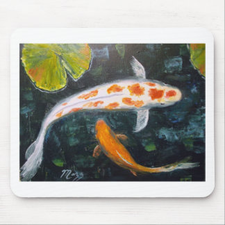 Koi with Lily Pads Mouse Pad