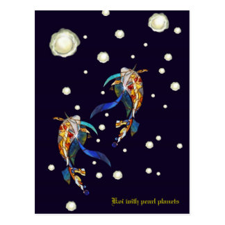 Koi with Pearl Planets Fantasy Wedding Postcard