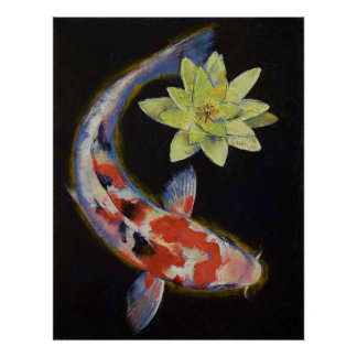 Koi with Yellow Water Lily Print