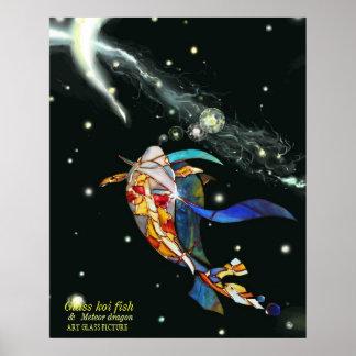 Koi y dragón en imagen artística del espacio póster