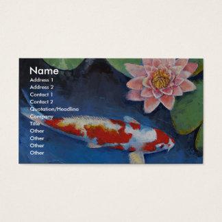 Koi y lirio de agua tarjeta de negocios
