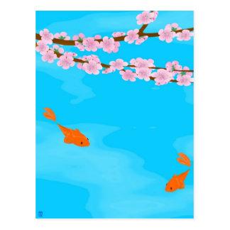 Koi y postal de Sakura