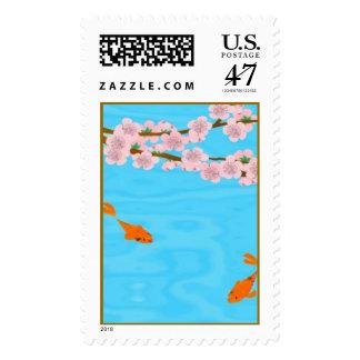Koi y Sakura Sellos Postales