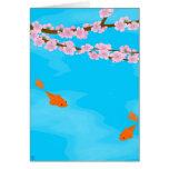 Koi y tarjeta de felicitación de Sakura