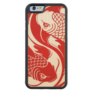 koi yin yaRed and White Yin Yang Koi Fish Carved Maple iPhone 6 Bumper Case