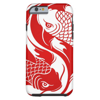 koi yin yaRed and White Yin Yang Koi Fish Tough iPhone 6 Case