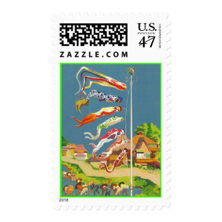 koinobori Stamps Asian Japanese Carp wind socks