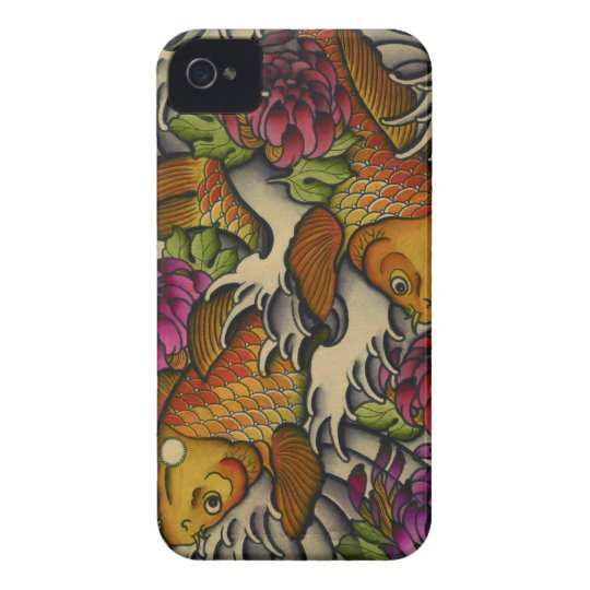 Kois and Chrysanthemums iPhone 4 Case-Mate Case