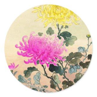 Koitsu Tsuchiya Chrysanthemum japanese flowers art Classic Round Sticker