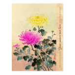 Koitsu Tsuchiya Chrysanthemum japanese flowers art Postcard