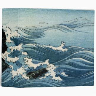 Kojima Island, Big Wave. Japanese Woodblock Print Binder