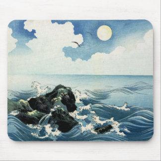 Kojima Island, Big Wave. Japanese Woodblock Print Mouse Pad