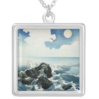Kojima Island, Big Wave. Japanese Woodblock Print Square Pendant Necklace