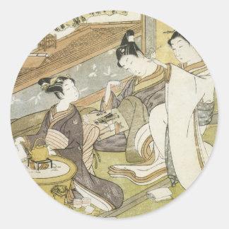 Kokan Komachi Praying For Rain 1771 Art Prints Classic Round Sticker