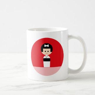Kokeshi 5 classic white coffee mug