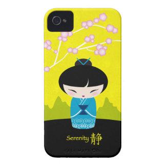 Kokeshi azul - serenidad iPhone 4 protectores