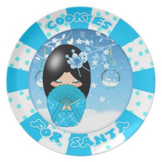 Kokeshi Christmas Santa Cookie Melamine Plate