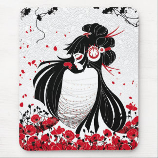 Kokeshi Coquelicot Mouse Pad