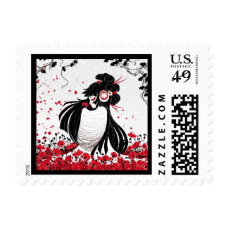 Kokeshi Coquelicot Postage Stamps