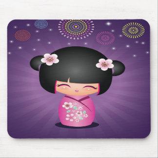 Kokeshi Cutie fireworks Mousepad