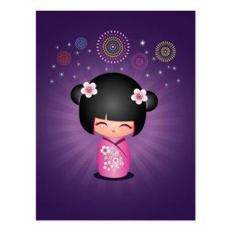 Kokeshi Cutie Fireworks Postcard
