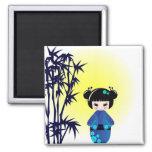 Kokeshi doll and bamboo fridge magnets