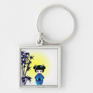 Kokeshi doll and bamboo keychain