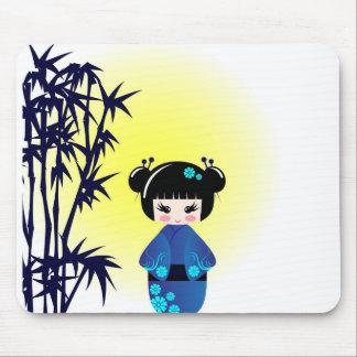 Kokeshi doll and bamboo mouse pad