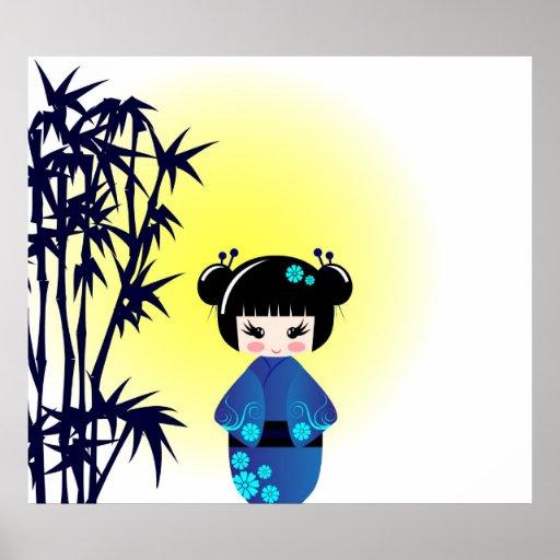Kokeshi doll and bamboo poster
