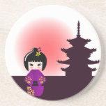 Kokeshi doll and japanese temple coasters