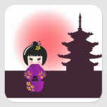 Kokeshi doll and japanese temple square sticker