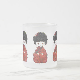 Kokeshi Doll Art Frosted Glass Coffee Mug