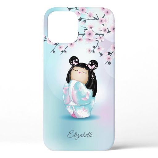 Kokeshi Doll Cherry Pink Turquoise Name  iPhone 12 Case