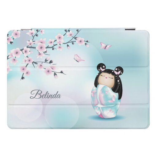 Kokeshi Doll Cherry Pink Turquoise Name  iPad Pro Cover