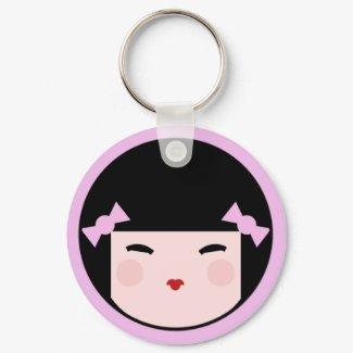 Kokeshi Doll Face Keychain keychain