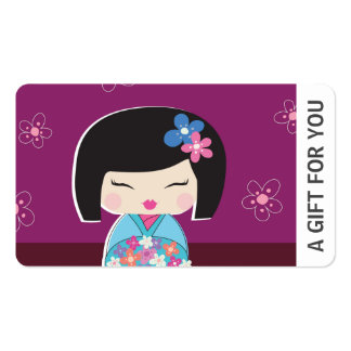 Kokeshi Doll Gift Card, Certificate, D8-052115 Double-Sided Standard Business Cards (Pack Of 100)