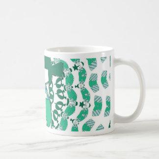 Kokeshi doll, green classic white coffee mug