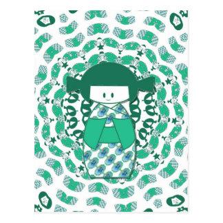 Kokeshi doll, green postcard